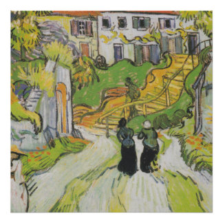 Village Street and Stairs in Auvers with Figures Poster