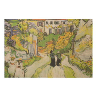 Village Street and Stairs in Auvers with Figures Wood Wall Art