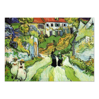 Village Street and Steps in Auvers by van Gogh 13 Cm X 18 Cm Invitation Card