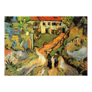 Village Street and Steps in Auvers - van Gogh 13 Cm X 18 Cm Invitation Card