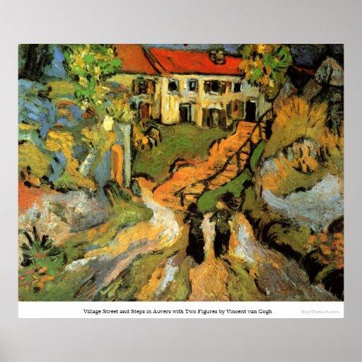 Village Street and Steps in Auvers - van Gogh Print