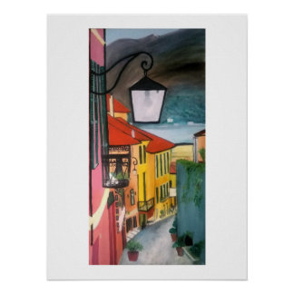 Village street in pinks, blues and yellow poster