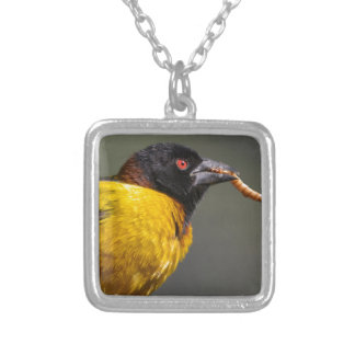 Village Weaver on branch Silver Plated Necklace