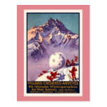 Villars, Switzerland, Vintage Travel Poster Postcard