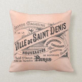 Ville de Saint Denis French Antique Art Pillow