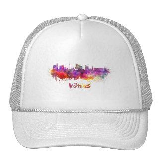 Vilnius skyline in watercolor cap