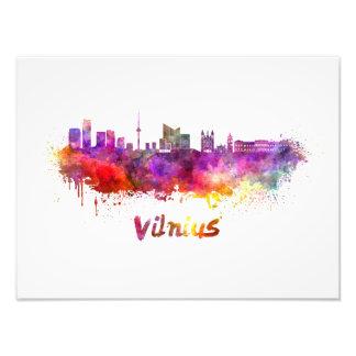Vilnius skyline in watercolor photo print