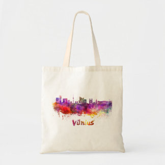 Vilnius skyline in watercolor tote bag