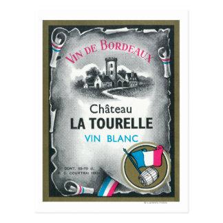 Vin De Bordeaux Wine LabelEurope Postcard