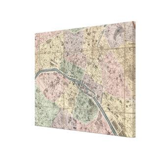 Vinage Map of Paris France (1878) Canvas Print