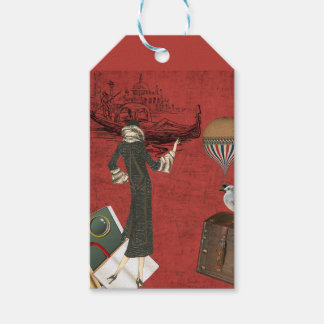 Vinage Venice Travels Ephemera in Red Gift Tags