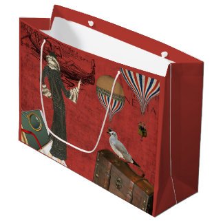Vinage Venice Travels Ephemera in Red Large Gift Bag