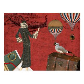 Vinage Venice Travels Ephemera in Red Postcard