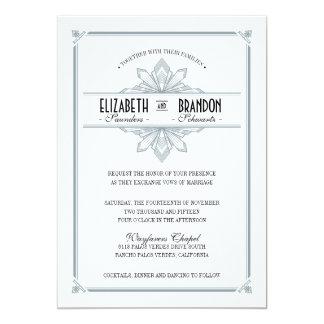 """Vinatge Deco Silver & Black Wedding Invitation 5"""" X 7"""" Invitation Card"""