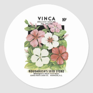 Vinca, Brilliant Mixture, Roudabush's Seed Store Round Sticker