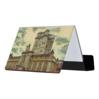 Vincennes castle, Paris painting Desk Business Card Holder