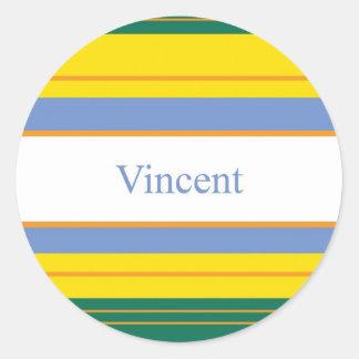 Vincent Classic Stripes Round Sticker
