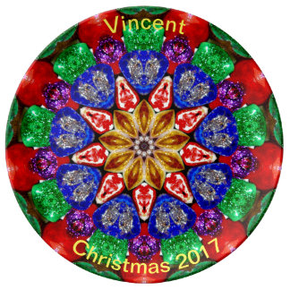 VINCENT ~ Personalised Christmas Fractal ~ Plate