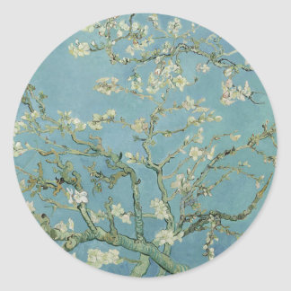 Vincent Van Gogh Almond Blossom Floral Painting Classic Round Sticker