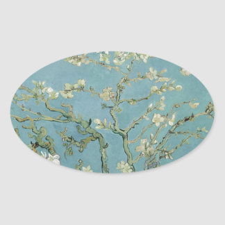 Vincent Van Gogh Almond Blossom Floral Painting Oval Sticker