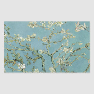 Vincent Van Gogh Almond Blossom Floral Painting Rectangular Sticker