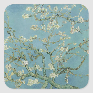 Vincent Van Gogh Almond Blossom Floral Painting Square Sticker