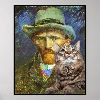 Vincent van Gogh and his  cat Poster