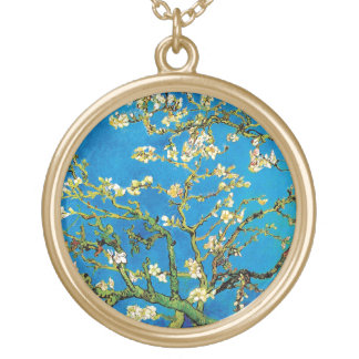 Vincent Van Gogh - Blossoming Almond Tree Fine Art Gold Plated Necklace