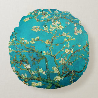 Vincent Van Gogh Blossoming Almond Tree Floral Art Round Pillow