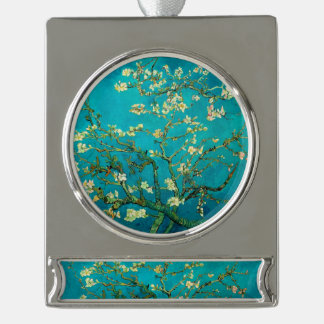 Vincent Van Gogh Blossoming Almond Tree Floral Art Silver Plated Banner Ornament