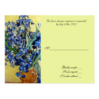 Vincent van Gogh, blue irises in yellow background Postcard