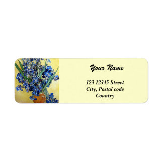 Vincent van Gogh, blue irises in yellow background Return Address Label