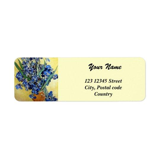 Vincent van Gogh, blue irises in yellow background Return Address Label