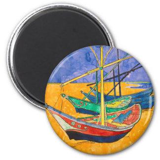 Vincent Van Gogh Boats Impressionist 6 Cm Round Magnet
