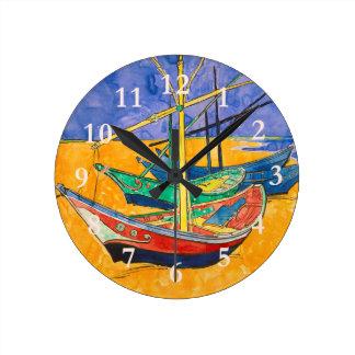 Vincent Van Gogh Boats Impressionist Round Clock