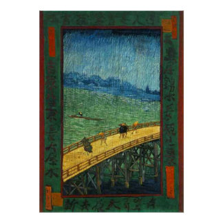 Vincent van Gogh Bridge in Rain (after Hiroshige) Poster
