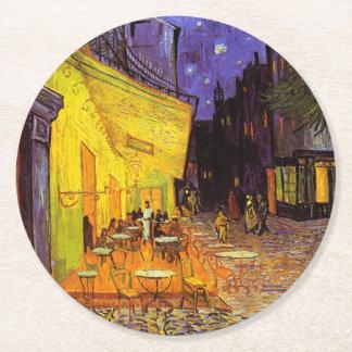 Vincent Van Gogh Cafe Terrace At Night Fine Art Round Paper Coaster