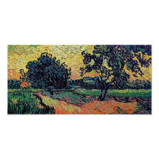 Vincent Van Gogh - Chateau Of Auvers At Sunset Poster