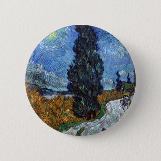 Vincent Van Gogh Country road in Provence by Night 6 Cm Round Badge