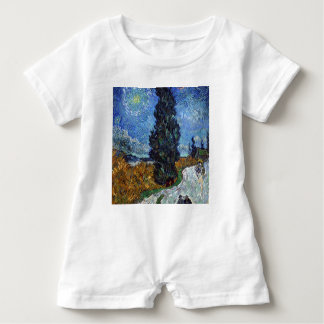 Vincent Van Gogh Country road in Provence by Night Baby Bodysuit