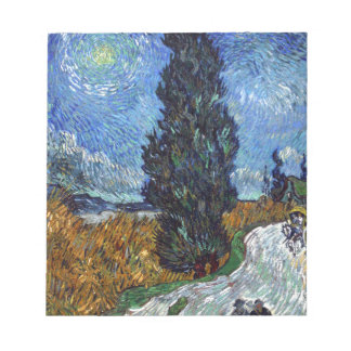 Vincent Van Gogh Country road in Provence by Night Notepad