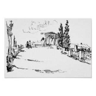 Vincent van Gogh Drawbridge at Arles Drawing Poster