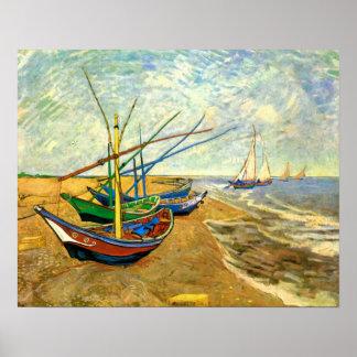 Vincent van Gogh Fishing Boats, Post Impressionism Poster