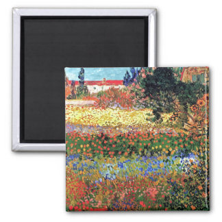 Vincent Van Gogh - Flowering Garden Fine Art Square Magnet