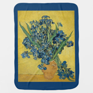 Vincent van Gogh, Irises flowers blue yellow Baby Blanket
