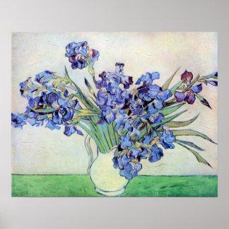Vincent van Gogh Irises in Vase Post Impressionism Poster