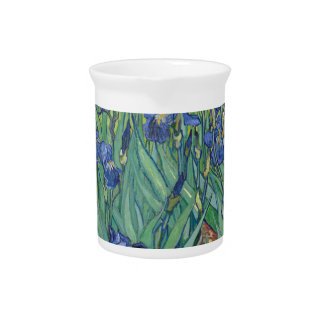 Vincent Van Gogh Irises Painting Flowers Art Work Pitcher