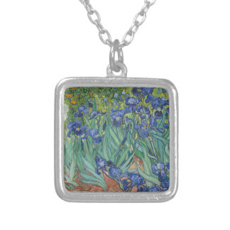 Vincent Van Gogh Irises Painting Flowers Art Work Silver Plated Necklace