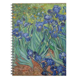Vincent Van Gogh Irises Painting Flowers Art Work Spiral Notebook