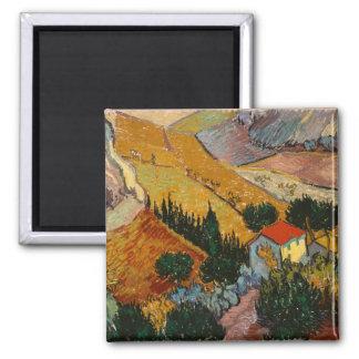 Vincent van Gogh | Landscape w/ House & Ploughman Magnet